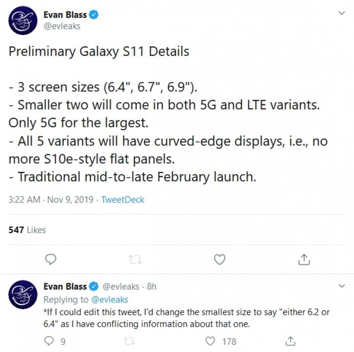 Le Samsung Galaxy S11 devrait être disponible en 3 tailles d'écran et 5 versions
